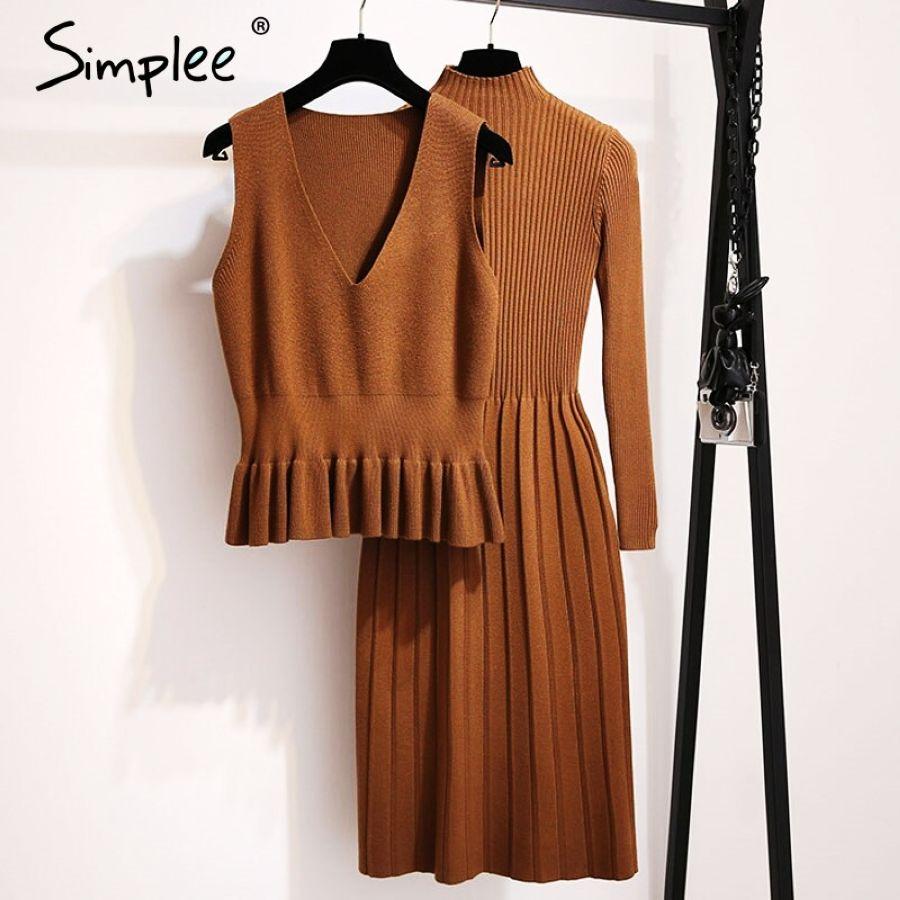 Simplee mujeres elegante tejido a rayas vestido línea a
